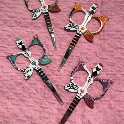 Cat scissors for use alongside our QuilTak quilt basting tools